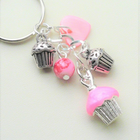 Bright Pink Shell Glass Beaded Silver Cupcake Keyring Bag Charm  KCJ2079