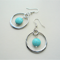 Turquoise Howlite Disc Silver Plated Hoop Earrings   KCJ2032