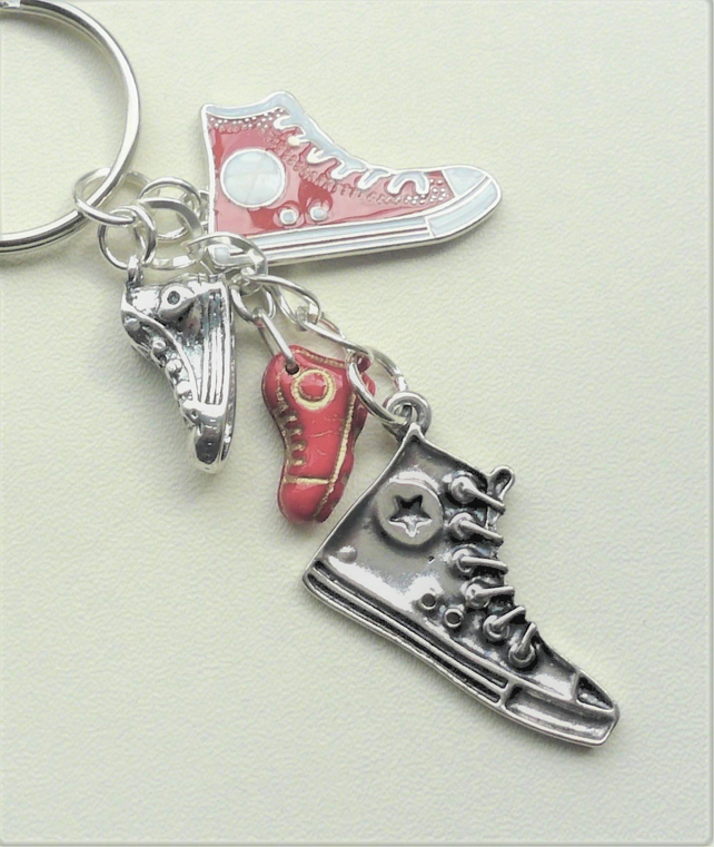 Red White Silver Baseball Boot Keyring Bag Charm Glass Painted Enamel  KCJ2095