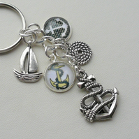 Nautical Sailing Silver Glass Cabochon Keyring or Bag Charm    KCJ2081