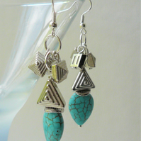 Turquoise Howlite Silver Geometric Dangle Earrings   KCJ2111