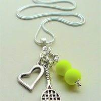 Bright Neon Yellow and Silver Tennis Themed  Pendant Cluster Necklace KCJ2127