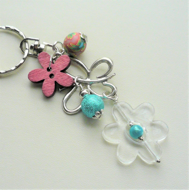 Blue and Pink Silver Mixed Bead Butterfly Keyring Bag Charm  KCJ2147