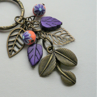 Purple Orange Antique Bronze Leaf Howlite Poly Clay Keyring Bag Charm   KCJ2275