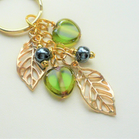 Leaf and Heart Keyring Bag Charm Gold Plated Green and Blue Lustre Glass   K2290
