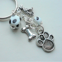 Keyring Bag Charm Black and White Spotty Bead Dalmatian Themed KCJ2284