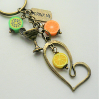 Cocktail Drink Keyring Bag Charm Poly Clay Fruits Antique Bronze    KCJ2293