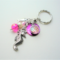 Pink Iridescent Mermaid Scale Silver Seahorse Keyring Bag Charm  KCJ2305