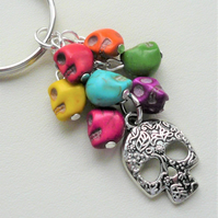Multicoloured Rainbow Coloured Skull and Silver Keyring Bag Charm    KCJ2313