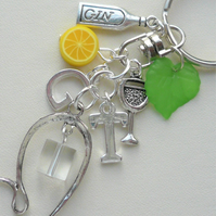 Gin and Tonic Themed Keyring Bag Charm Clear Lemon Green Silver   KCJ2331