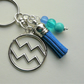 Aquarius The Water Carrier Star Sign Zodiac Tassel Keyring or Bag Charm  KCJ2408