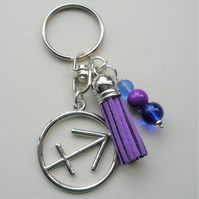 Sagittarius The Archer Star Sign Zodiac Tassel Keyring or Bag Charm  KCJ2409