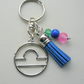 Libra The Scales Star Sign Zodiac Tassel Keyring or Bag Charm  KCJ2414
