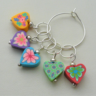 Knitting Stitch Markers Polymer Clay Heart Tibetan Silver Set of 5  KCJ2048