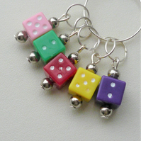 Knitting Stitch Markers Acrylic Dice Tibetan Silver Set of 5  KCJ2050