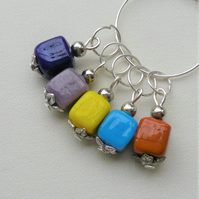 Knitting Stitch Markers Glass Tibetan Silver Set of 5  KCJ2052