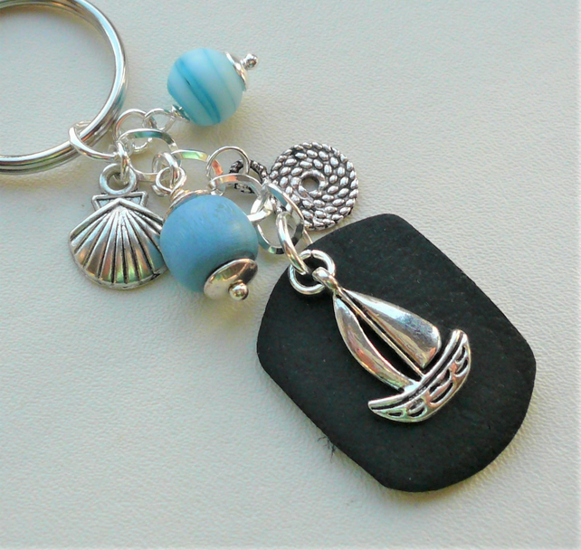 Blue Sailing Boat Shell Leather Tag Silver Keyring  KCJ2492