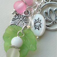Pink and White Lotus Flower Keyring Bag Charm Glass Lucite Shell Silver  KCJ2556
