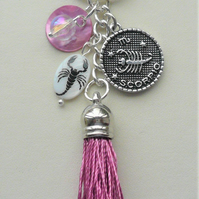 Scorpio The Scorpion Star Sign Zodiac Tassel Keyring or Bag Charm  KCJ2627