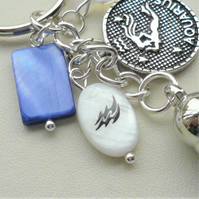 Aquarius The Water Carrier Star Sign Zodiac Tassel Keyring or Bag Charm  KCJ2636