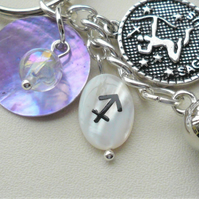 Sagittarius The Archer Star Sign Zodiac Tassel Keyring or Bag Charm  KCJ2637