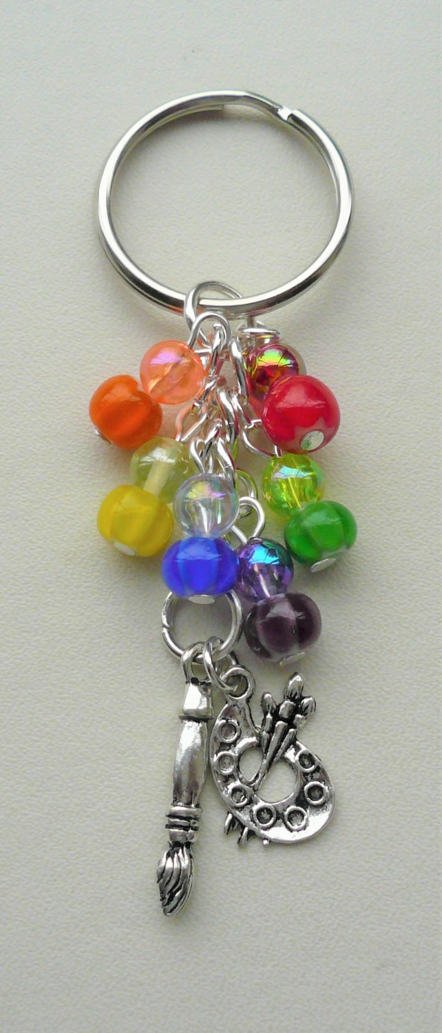 Artist Painter Keyring Bag Charm Glass Acrylic Bead Rainbow Silver KCJ2659