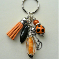 Orange and Black Mixed Bead Silver Cat Tassel Keyring Bag Charm  KCJ933