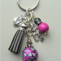 Keyring Scent Bottle Tassel Bright Pink and Grey Glass Bead Silver   KCJ1784