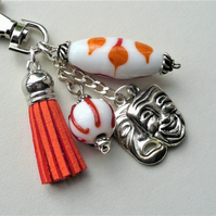 Keyring Bag Charm Red and White Glass Bead Tragic Comedy Mask   KCJKR3