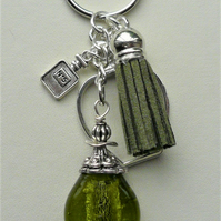 Keyring Bag Charm Green Glass Perfume Scent Bottle Tassel   KCJ1933