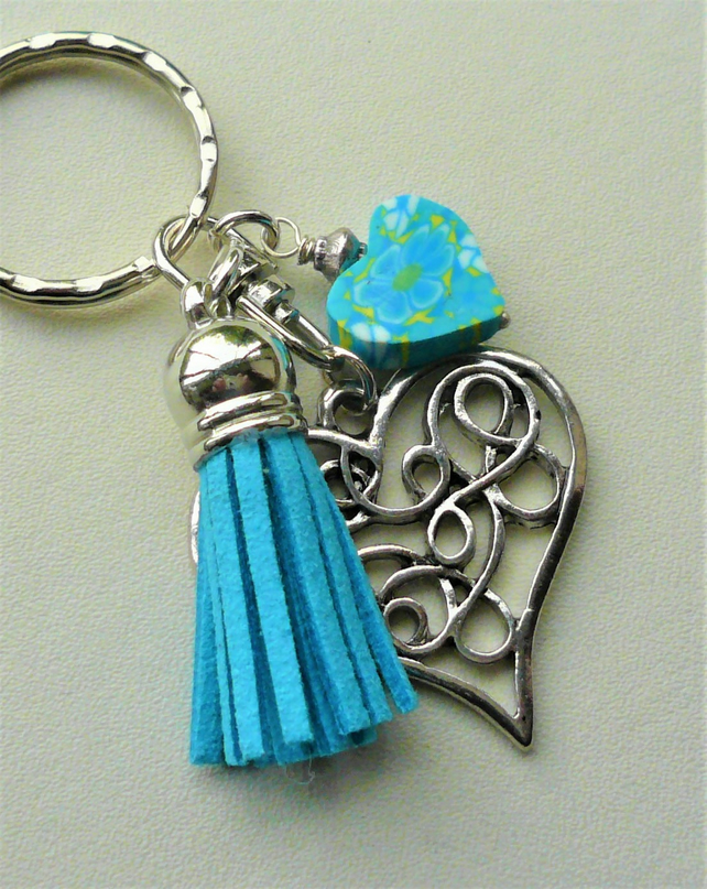 Blue and Yellow Poly Clay and Silver Heart Tassel Keyring Bag Charm   KCJ1998