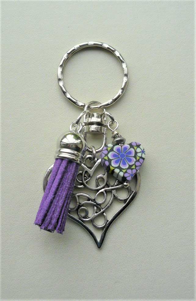 Purple and Black Poly Clay and Silver Heart Tassel Keyring Bag Charm   KCJ1999