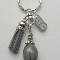 Grey 'Drink Me' Potion Bottle-Effect Tassel Keyring Bag Charm KCJ1953