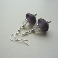 Purple Frosted Glass Rondelle Clear Faceted Bead Silver Earrings   KCJ3647