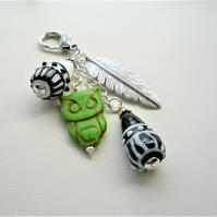 Bag Charm Green Howlite Owl Black White Glass Lampwork Silver Feather  KCJ3666