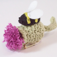 Crochet thistle and felt bumblebee brooch