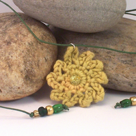 April - crochet carnation necklace in yellow, lime and green
