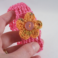 Mhairi - Blossom cuff in pink and orange