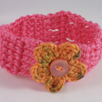 Crochet cuff with crochet flower and vintage button - Mhairi