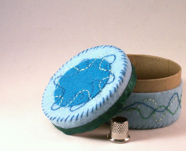 Hand embroidered small box in turquoise and blue