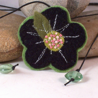Felted cashmere necklace with hand embroidered centre - Yuki