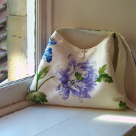 Textile shoulder bag with machine embroidered ladybird design - Josephine