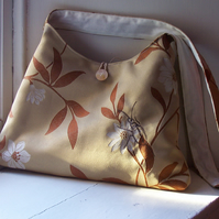 Soft fabric shoulder bag with machine embroidered beetle - Arbour