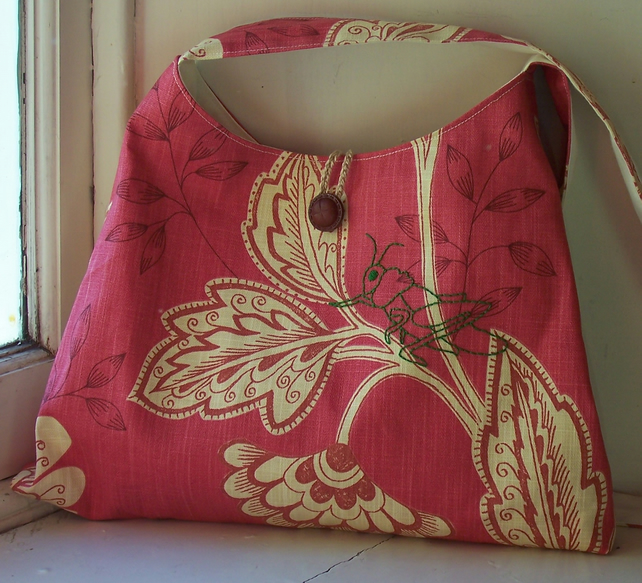 Floral fabric shoulder bag with embroidered grasshopper - Ayana