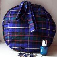 Dupion silk tartan circular evening bag - Heather