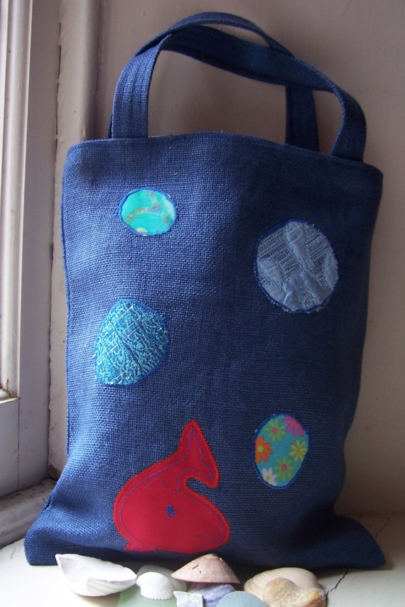 Bubbles - tote bag with fish and bubble appliques, in blue and red