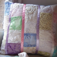 One of a kind cushion cover with lace, sequins and ribbons - Joy