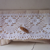 Fabric clutch bag with vintage lace feature - Charlotte