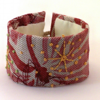 Printed linen hand embroidered cuff - Salome