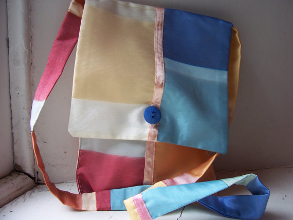 Voile fabric messenger bag in summery ice cream colours - Riviera